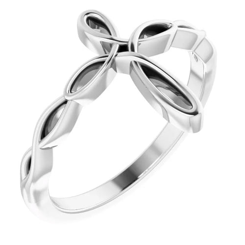 Ladies Sterling Silver Cross Religious Band Ring