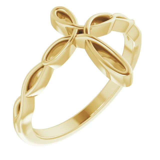 Ladies 14k Gold Cross Religious Christian Band Ring