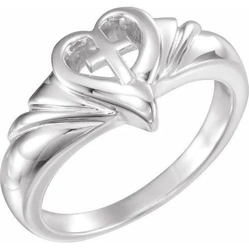 Ladies 0.925 Sterling Silver Heart & Cross Band Ring