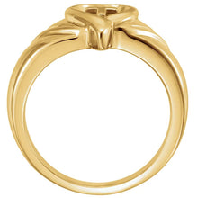 Ladies New 14k Gold Heart & Cross Band Ring