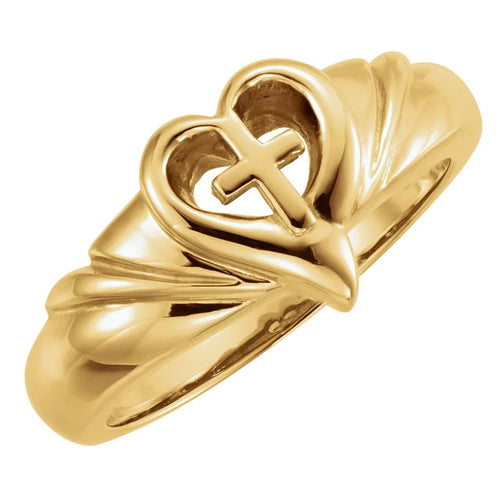 Ladies 14k Gold Heart & Cross Band Ring