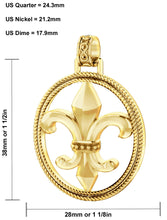Fleur De Lis Necklace Of Gold In Braided Design - Size