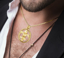 Fleur De Lis Necklace Of Gold In Braided Style - Men