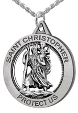 St Christopher Necklace - Silver Pendant In Round Shape