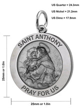 Round Pendant Necklace With Saint Anthony Image - Details