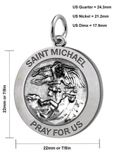 Saint Michael Pendant In 2 Sizes - Size Description