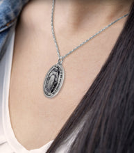 Virgin Mary Necklace Of Silver In Oval - Worn On Neck