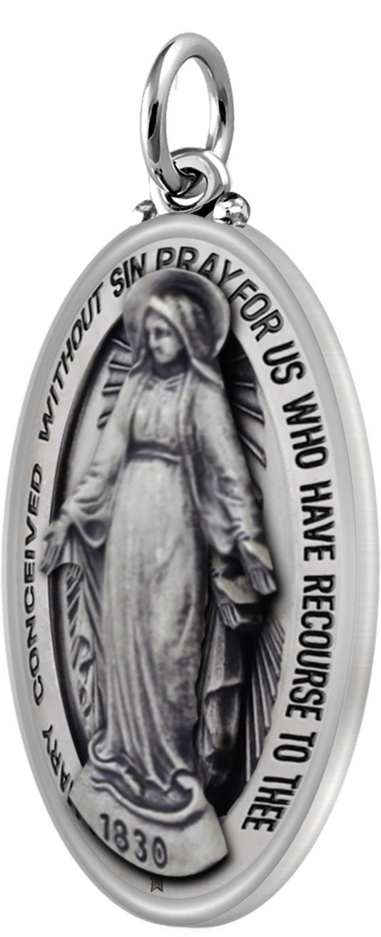 Virgin Mary Necklace Of Silver In Oval - No Chain