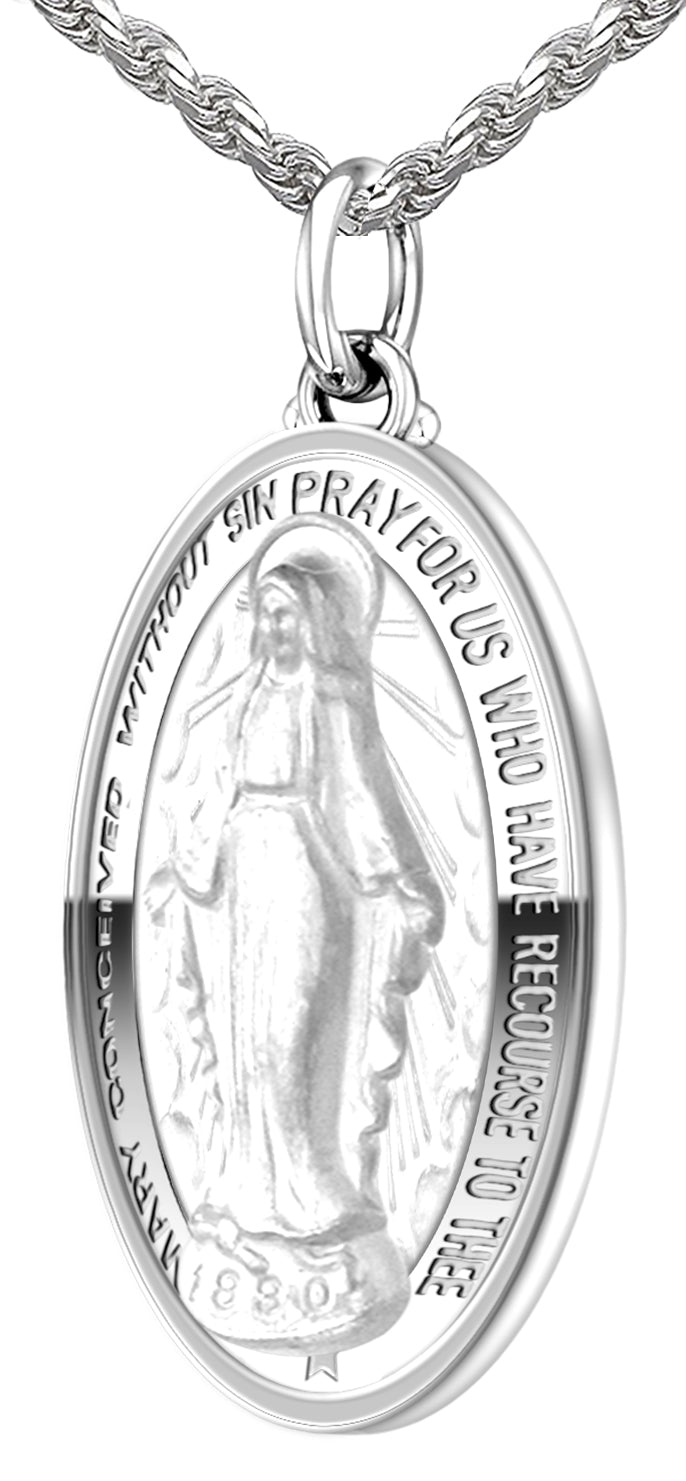 US Jewels Polished 925 Sterling Silver Large Miraculous Virgin Mary Pendant Necklace 18in to 24in