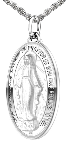 Virgin Mary Necklace - Pendant Necklace Of 0.925 Silver
