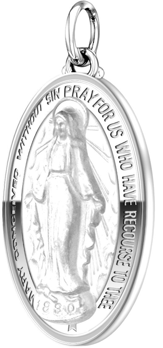 Virgin Mary Necklace Of 0.925 Silver - No Chain