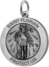 Round Pendant Necklace With St Florian Image - No Chain