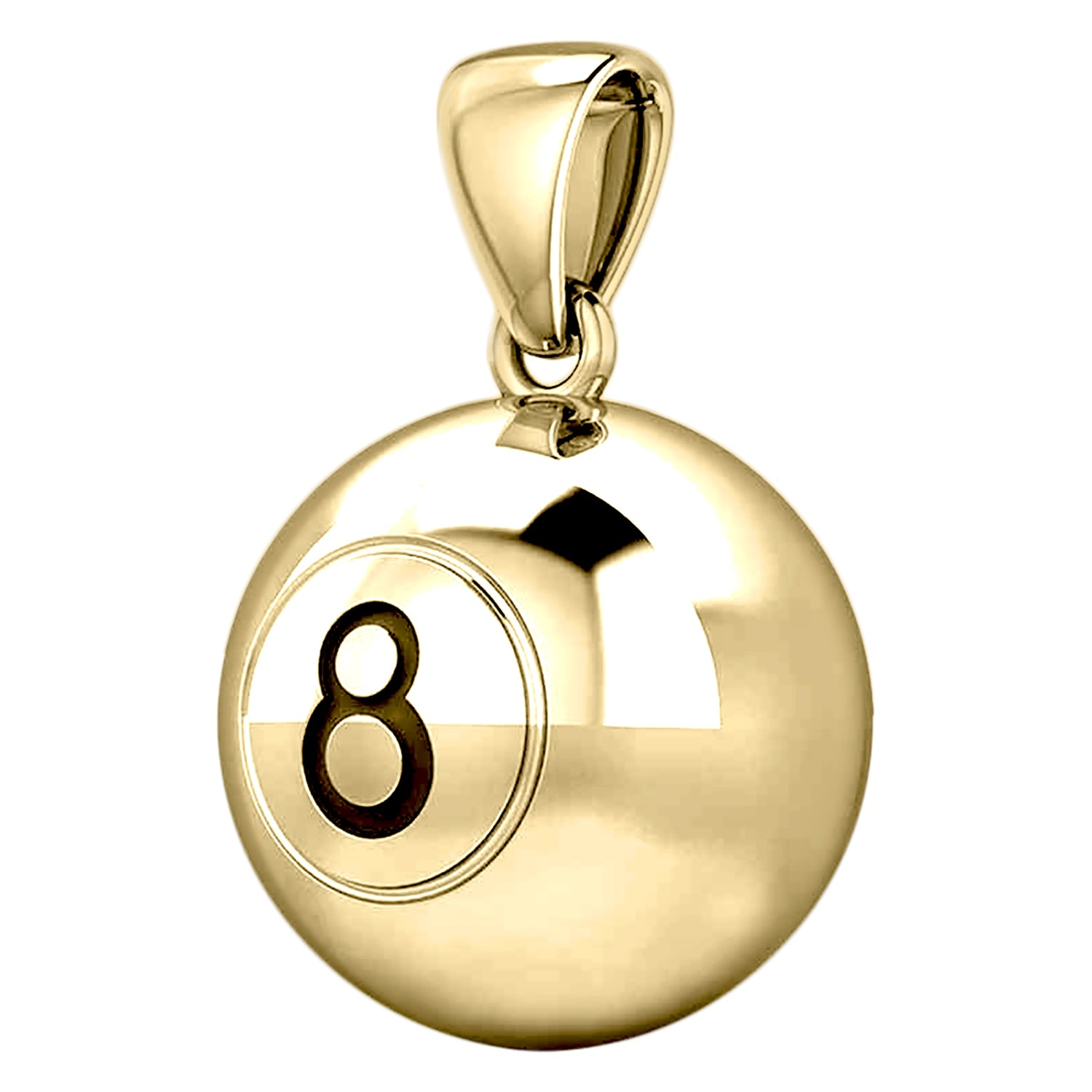 Large 10K or 14K Yellow Gold 3D Eight 8 Ball Billiards Pendant Necklace, 18.5mm