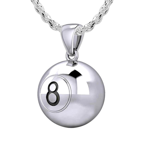 Ball Necklace - Silver Pendant In 3D 8 Ball Billiards