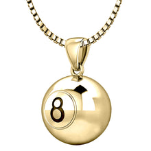 14K Yellow Gold Eight 8 Ball Billiards Pendant Necklace