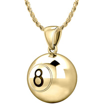 3D Eight 8 Ball Billiards Pendant Necklace, 13mm