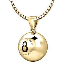 14K Yellow Gold 8 Ball Billiards Pendant Necklace