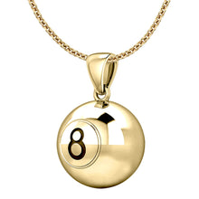 Gold 3D Eight Ball Billiards Pendant Necklace