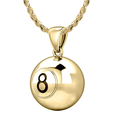 Billiards Necklace - Yellow Gold Pendant In 3D