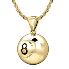 10K Yellow Gold 8 Ball Billiards Pendant Necklace