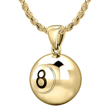 Small Gold 3D Eight Ball Billiards Pendant Necklace, 13mm