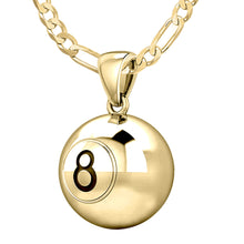 Small Yellow Gold 8 Ball Billiards Pendant Necklace