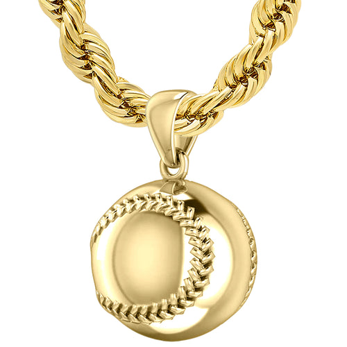 Yellow Gold 3D Baseball Sport Ball Pendant Necklace