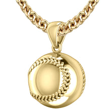 Baseball Necklace - Yellow Gold Pendant Necklace