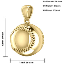Baseball Necklace - Charm Pendant Necklace In 14K Gold Graph