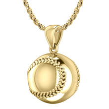 Baseball Necklace - Charm Pendant Necklace In 14K Gold