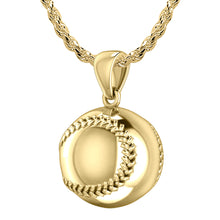 Small 14K Yellow Gold 3D Baseball Sport Ball Pendant Necklace, 13mm