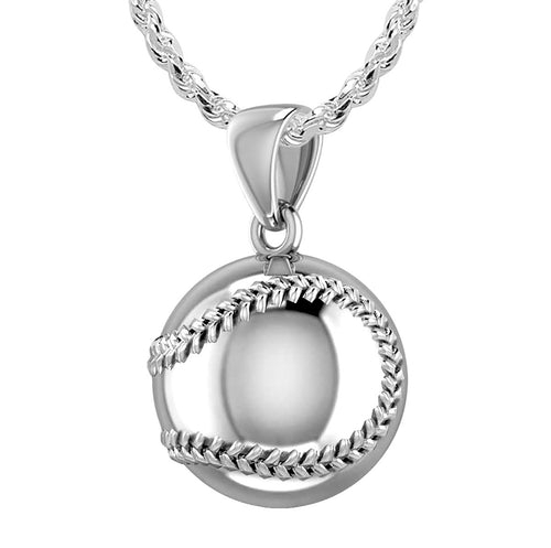 Baseball Necklace - Silver Pendant In 3D Sport Ball
