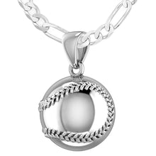 Small 925 Sterling Silver 3D Baseball Sport Ball Pendant Necklace, 13mm