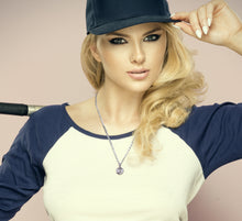 Baseball Necklace Of Silver In 3D Sport Ball - women-model