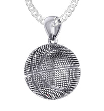 Basketball Necklace In Silver For Men - 2.2mm Curb Chain