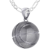 Basketball Necklace In Silver For Men - 2.3mm Figaro Chain