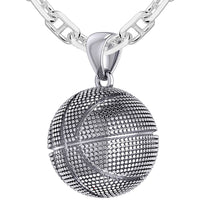 Basketball Necklace In Silver For Men - 2.9mm Marine Chain