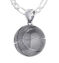 Basketball Necklace In Silver For Men - 3.4mm Figaro Chain