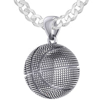 Basketball Necklace In Silver For Men - 3.6mm Curb Chain