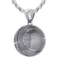 Basketball Necklace In Silver For Men - 3mm Rope Chain