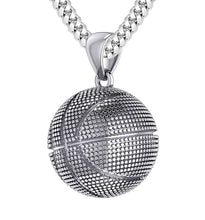 Basketball Necklace In Silver For Men - 4.1mm Cuban Chain