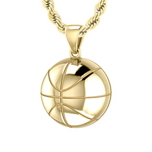 Large 10K or 14K Yellow Gold 3D Basketball Pendant Necklace, 18.5mm