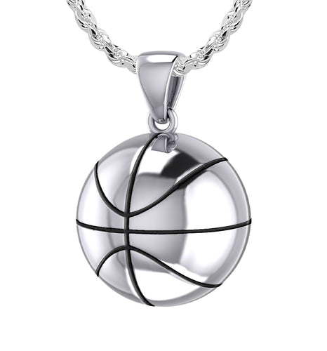 Large 925 Sterling Silver 3D Basketball Pendant Necklace, 18.5mm