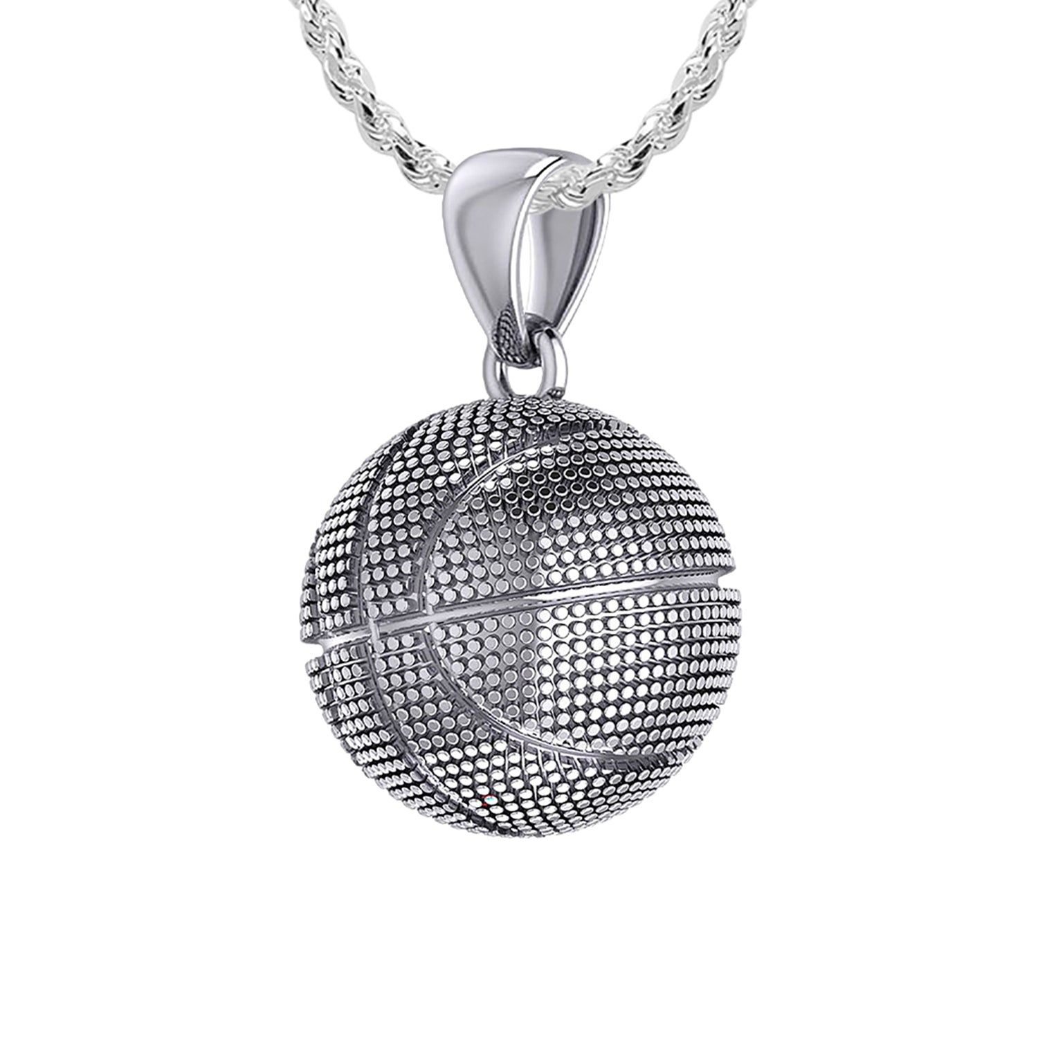 Basketball Necklace In Sterling Silver - 1.10mm Rope Chain