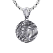 Basketball Necklace In Sterling Silver - 1.50mm Rope Chain