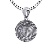 Basketball Necklace In Sterling Silver - 1.5mm Box Chain
