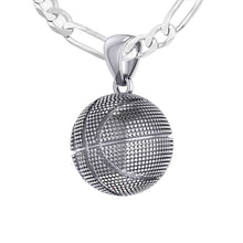 Basketball Necklace In Sterling Silver - 1.8mm Figaro Chain