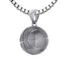 Basketball Necklace In Sterling Silver - 2.2mm Box Chain