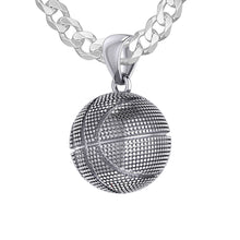 Basketball Necklace In Sterling Silver - 2.2mm Curb Chain