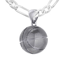 Basketball Necklace In Sterling Silver - 2.3mm Figaro Chain